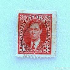 Sellos: SELLO POSTAL CANADA 1937, 3 CENTS , REY GEORGE VI , USADO . Lote 153048758