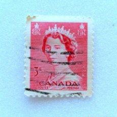 Sellos: SELLO POSTAL CANADA 1953, 3 CENTS , REINA ELIZABETH II , USADO. Lote 153076994