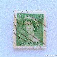 Sellos: SELLO POSTAL CANADA 1953, 2 CENTS , REINA ELIZABETH II, USADO. Lote 153082078