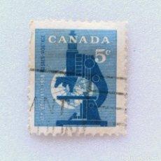 Sellos: SELLO POSTAL CANADA 1958, 5 CENTS ,MICROSCOPIO , USADO. Lote 153085354