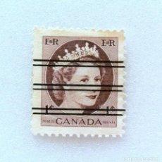 Sellos: ANTIGUO SELLO POSTAL CANADA 1956, 1 CENTS , REINA ELIZABETH II , PRECANCELADO , SIN USAR , RAREZA *. Lote 153088318