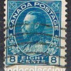 Sellos: CANADA Nº 105, JORGE V EN UNIFORME DE ALMIRANTE, (AÑO 1922), USADO. Lote 177047745