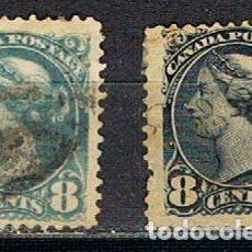 Sellos: CANADA Nº 28 Y 28 A , LA REINA VICTORIA (AÑO 1893), USADO (SERIE COMPLETA). Lote 177049220