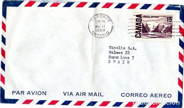 CANADA SOBRE AEREO TORONTO MAYO 1968 (Sellos - Extranjero - América - Canadá)