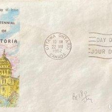 Sellos: SOBRE PRIMER DIA. CENTENNIAL OF VICTORIA. OTTAWA ONTARIO. CANADA, 1962. . Lote 186137862
