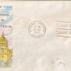 Sellos: SOBRE PRIMER DIA. CENTENNIAL OF VICTORIA. OTTAWA ONTARIO. CANADA, 1962. . Lote 186137877