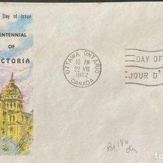 Sellos: SOBRE PRIMER DIA. CENTENNIAL OF VICTORIA. OTTAWA ONTARIO. CANADA, 1962. . Lote 186137907