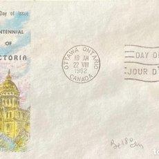 Sellos: SOBRE PRIMER DIA. CENTENNIAL OF VICTORIA. OTTAWA ONTARIO. CANADA, 1962. . Lote 186137915