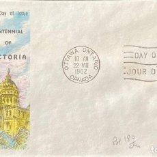 Sellos: SOBRE PRIMER DIA. CENTENNIAL OF VICTORIA. OTTAWA ONTARIO. CANADA, 1962. . Lote 186137923