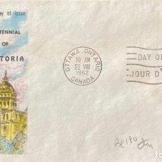 Sellos: SOBRE PRIMER DIA. CENTENNIAL OF VICTORIA. OTTAWA ONTARIO. CANADA, 1962. . Lote 186137980