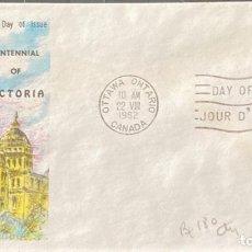 Sellos: SOBRE PRIMER DIA. CENTENNIAL OF VICTORIA. OTTAWA ONTARIO. CANADA, 1962.. Lote 186138093