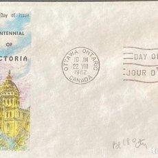 Sellos: SOBRE PRIMER DIA. CENTENNIAL OF VICTORIA. OTTAWA ONTARIO. CANADA, 1962.. Lote 186138136