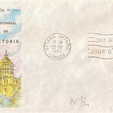 Sellos: SOBRE PRIMER DIA. CENTENNIAL OF VICTORIA. OTTAWA ONTARIO. CANADA, 1962. . Lote 186138266