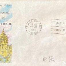 Sellos: SOBRE PRIMER DIA. CENTENNIAL OF VICTORIA. OTTAWA ONTARIO. CANADA, 1962. . Lote 186138267