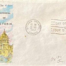Sellos: SOBRE PRIMER DIA. CENTENNIAL OF VICTORIA. OTTAWA ONTARIO. CANADA, 1962. . Lote 186138307