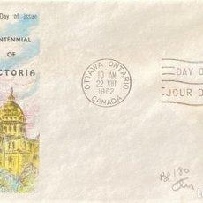 Sellos: SOBRE PRIMER DIA. CENTENNIAL OF VICTORIA. OTTAWA ONTARIO. CANADA, 1962. . Lote 186138330
