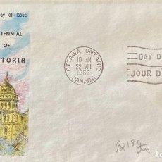 Sellos: SOBRE PRIMER DIA. CENTENNIAL OF VICTORIA. OTTAWA ONTARIO. CANADA, 1962. . Lote 186138350