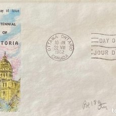 Sellos: SOBRE PRIMER DIA. CENTENNIAL OF VICTORIA. OTTAWA ONTARIO. CANADA, 1962. . Lote 186138365