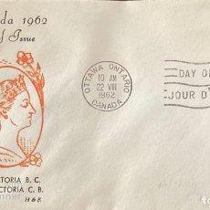 Sellos: SOBRE PRIMER DIA. CENTENARY OF VICTORIA B.C. 1862-1962. OTTAWA ONTARIO. CANADA, 1962. . Lote 186141846