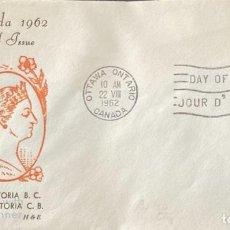 Sellos: SOBRE PRIMER DIA. CENTENARY OF VICTORIA B.C. 1862-1962. OTTAWA ONTARIO. CANADA, 1962. . Lote 186141851