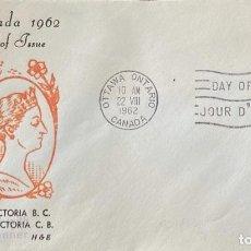 Sellos: SOBRE PRIMER DIA. CENTENARY OF VICTORIA B.C. 1862-1962. OTTAWA ONTARIO. CANADA, 1962. . Lote 186141856