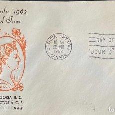 Sellos: SOBRE PRIMER DIA. CENTENARY OF VICTORIA B.C. 1862-1962. OTTAWA ONTARIO. CANADA, 1962. . Lote 186141948