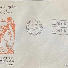 Sellos: SOBRE PRIMER DIA. CENTENARY OF VICTORIA B.C. 1862-1962. OTTAWA ONTARIO. CANADA, 1962. . Lote 186141962