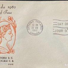 Sellos: SOBRE PRIMER DIA. CENTENARY OF VICTORIA B.C. 1862-1962. OTTAWA ONTARIO. CANADA, 1962. . Lote 186141990