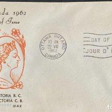 Sellos: SOBRE PRIMER DIA. CENTENARY OF VICTORIA B.C. 1862-1962. OTTAWA ONTARIO. CANADA, 1962. . Lote 186142010