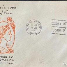Sellos: SOBRE PRIMER DIA. CENTENARY OF VICTORIA B.C. 1862-1962. OTTAWA ONTARIO. CANADA, 1962. . Lote 186142046