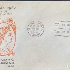Sellos: SOBRE PRIMER DIA. CENTENARY OF VICTORIA B.C. 1862-1962. OTTAWA ONTARIO. CANADA, 1962. . Lote 186142061