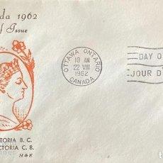 Sellos: SOBRE PRIMER DIA. CENTENARY OF VICTORIA B.C. 1862-1962. OTTAWA ONTARIO. CANADA, 1962. . Lote 186142070
