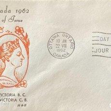 Sellos: SOBRE PRIMER DIA. CENTENARY OF VICTORIA B.C. 1862-1962. OTTAWA ONTARIO. CANADA, 1962. . Lote 186142116