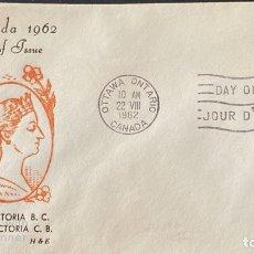 Sellos: SOBRE PRIMER DIA. CENTENARY OF VICTORIA B.C. 1862-1962. OTTAWA ONTARIO. CANADA, 1962. . Lote 186142131