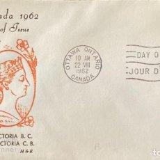 Sellos: SOBRE PRIMER DIA. CENTENARY OF VICTORIA B.C. 1862-1962. OTTAWA ONTARIO. CANADA, 1962. . Lote 186142156