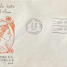Sellos: SOBRE PRIMER DIA. CENTENARY OF VICTORIA B.C. 1862-1962. OTTAWA ONTARIO. CANADA, 1962. . Lote 186142201