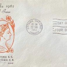 Sellos: SOBRE PRIMER DIA. CENTENARY OF VICTORIA B.C. 1862-1962. OTTAWA ONTARIO. CANADA, 1962. . Lote 186142210