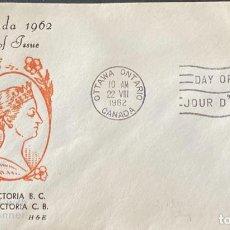 Sellos: SOBRE PRIMER DIA. CENTENARY OF VICTORIA B.C. 1862-1962. OTTAWA ONTARIO. CANADA, 1962. . Lote 186142217