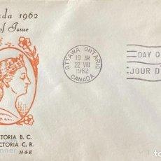 Sellos: SOBRE PRIMER DIA. CENTENARY OF VICTORIA B.C. 1862-1962. OTTAWA ONTARIO. CANADA, 1962.. Lote 186142248