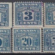 Sellos: F-EX8302 CANADA REVENUE STAMPS LOT. EXCISE TAX. 1C- 50C.. Lote 190652458