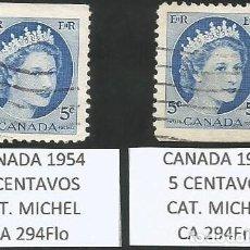 Sellos: CANADA 1954 - LOTE 2 SELLOS USADOS. Lote 193168843