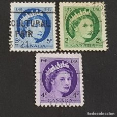 Sellos: CANADÁ,1954, ISABEL II, YVERT 268, 270 Y 271, SCOTT 338, 340-341, USADOS, ( LOTE AG). Lote 198790622