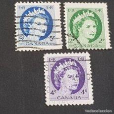 Sellos: CANADÁ,1954, ISABEL II, YVERT 268, 270 Y 271, SCOTT 338, 340-341, USADOS, ( LOTE AG). Lote 198790643
