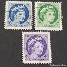 Sellos: CANADÁ,1954, ISABEL II, YVERT 268, 270 Y 271, SCOTT 338, 340-341, USADOS, ( LOTE AG). Lote 198790676