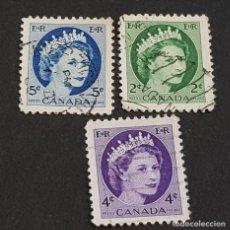 Sellos: CANADÁ,1954, ISABEL II, YVERT 268, 270 Y 271, SCOTT 338, 340-341, USADOS, ( LOTE AG). Lote 198790691