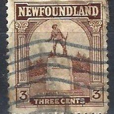 Selos: TERRANOVA / NEWFOUNDLAND 1923 - MONUMENTO AL SOLDADO TERRANOVENSE - SELLO USADO. Lote 209362553