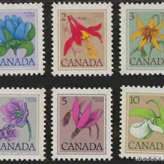 Sellos: CANADA 1977 - FLORES - YVERT Nº 625/630**. Lote 209403283
