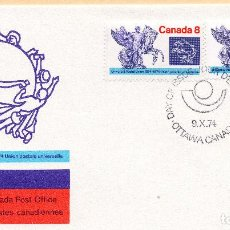 Sellos: SOBRE 1R DIA CENTENARIO UPU 1974, CANADA, MICHEL 574-575. Lote 213532625