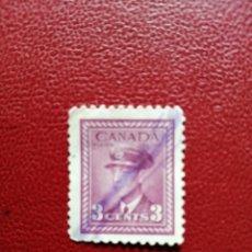 Sellos: CANADA - VALOR FACIAL 3 - AÑO 1943-48 - JORGE VI DEL REINO UNIDO - YV 207 - SC 251. Lote 214417602