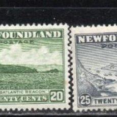 Sellos: NEWFOUNDLAND/1932-37/MH/SC#190, 195-197/ CARIBOU / FOCA / CABO RACE / VELERISMO / SET INCOMPLETO. Lote 215503537
